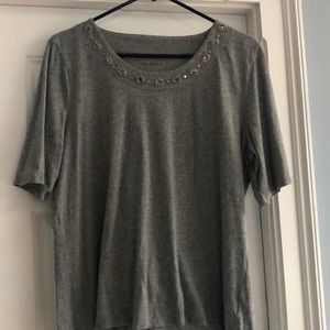 Talbots jeweled neckline gray tee